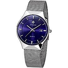 WWOOR Herren Elite Sport Armbanduhr Männlich Mesh Band Uhr mit Datum Blau