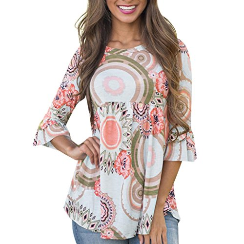 OYSOHE Damen T-Shirt, 2018 Neueste Fashion Flare Sleeve Frauen O Hals 3/4 Sleeve Blumendruck Bluse Casual Tops T-Shirt (L, Mehrfarbig) (Saum Flare Tunika)