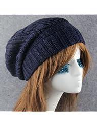 Qiaoba- Bonnet à tricoter, bonnet de bonneterie d'hiver chaud unisexe
