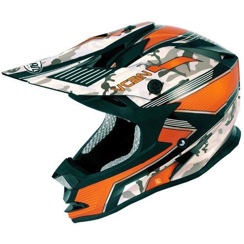 VCAN V321FORCE Graphic Motocross Casco, Donna uomo, Orange, 61-62 cm (XL)