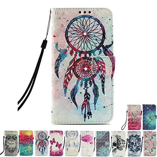 E-Mandala Sony Xperia XA1 Lederhülle Flip Case Glitzer Diamant Leder Wallet Cover Tasche handyhüllen Schutzhülle mit Kartenfach Hülle - Traumfänger Dreamcather