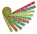 el paquete contiene 10 piezas de 2 metros cinta de la navidad, no se deshilache termina así que no hay desperdicio. dimensiones 2m x 2,5 cm (l x w) distintos de impresión muñeco de nieve de diseño actual y guantes ciervos y los árboles de nav...