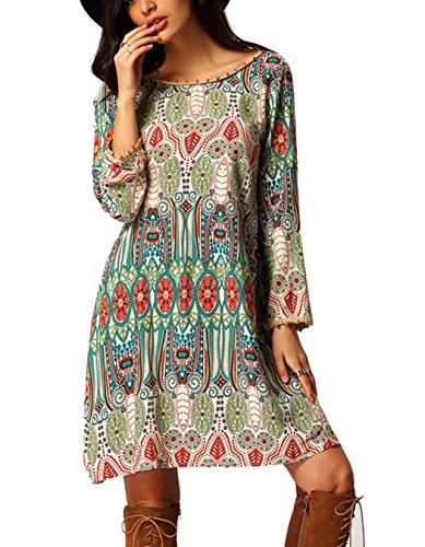 FINEJO Women Back V Neck Long Sleeve Beach Bohemian Style Tunic Dress