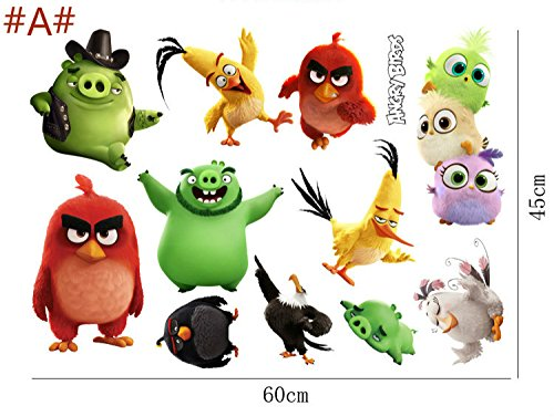 (New 2017. Lovely Angry Birds 3D Wandsticker für Kinder Zimmer Baby Home Dekoration Anime Poster Cartoon game Birds Wand Aufkleber art Tapete Kids 60x 45)