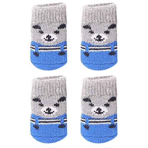KariNao Haustiere Socken, Hundekleidung Winter Warme Hundesocken Schuhe für Indoor im Winter(Grau, S)