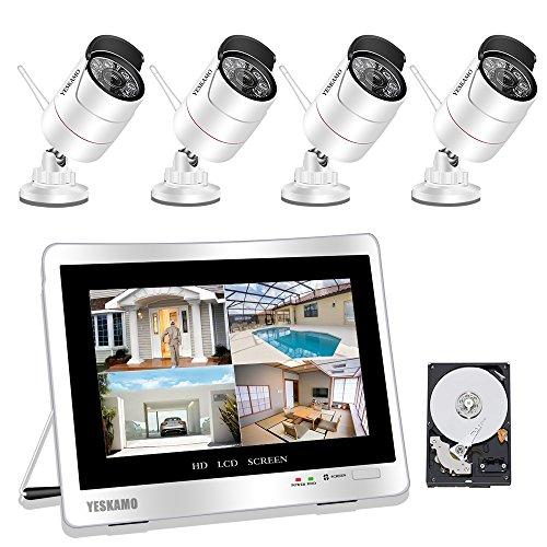 YESKAMO Überwachungskamera Set Außen Kabellos mit 4 x 1080P Wlan WiFi Sicherheitcameras 12