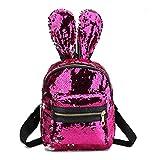 Zaini Zaino donna Kawaii Ear Bag PU Leather Paillettes Zaino Borse Bunny Ears Cartoon Bagpack Big Rose