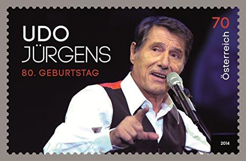 Preisvergleich Produktbild   Udo Jürgens Briefmarke 0,70 € 70 cent aus Österreich 80 er Geburtstag Sondermarke 2014 gültige Frankaturware