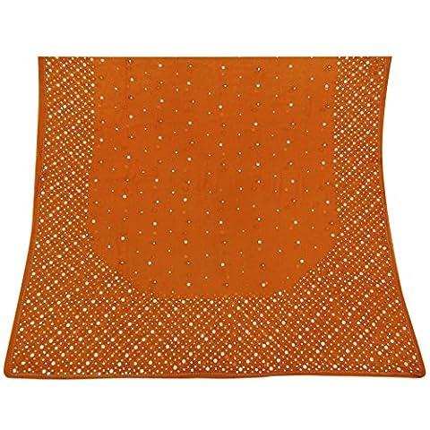 Indian Vintage-Dupatta lange Stola orange Georgette Hijab Hand wulstige Verpackungs-Schleier