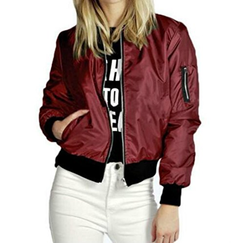 HKFV Women Slim Crossover Jacket Cycling Biker Motorcycle Soft Zipper Short Coat Jacket Leisure Jacket (S)