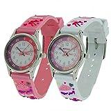 2 X Reflex Mädchen 3D Prinzessin Zeitlernuhr rosa & weißes Stoffarmband + Uhr Lesen Urkunde