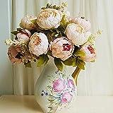 HuaYang Schön Künstlich Blumen Pfingstrosen Künstliche Blume Blumenstrauß Für Hochzeit Party Fest Haus Büro Bar Dekor (Rosa)