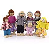 HolzmöBel Puppenhaus Cartoon Puppe GlüCkliche Familie-Miniatur 7 Personen Puppenspielzeug FüR Kind Freizeit Puzzle Spielzeug YWLINK