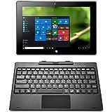 iRULU Walknbook - Portátil-tablet 2 en 1, Híbrido de 10.1 pulgadas, 32 GB, Microsoft Windows 10, 2 GB de RAM, Pantalla táctil IPS de 1280x800, Teclado desmontable con Soporte, Cubierta de Metal, Color Gris