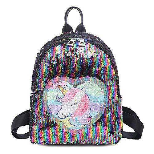 Demiawaking Zaino con Paillettes Glitterati Zainetto Glitter Carino Bambina Zaino da Viaggio Casual Borsa da Scuola per Bambina Ragazze (Multicolore)
