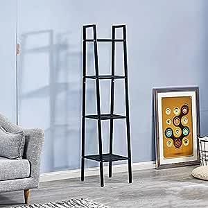 House of Quirk Ladder Shelf 4-Tier Bookshelf Plant Flower Stand Storage Rack Organizer Modern Shelves Shelving Bookcase Iron Stable Metal Frame Furniture Home for Living Room (Black(148x35x35cm)