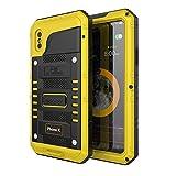 Beeasy Coque iPhone X Antichoc Étanche,Version Mise à Jour [Robuste|Qualité Militaire | Résistant|Metal|d'Armure|Antipoussière|Anti Pluie Neige|Étui Housse à l'Air Libre pour iPhone 10,Jaune