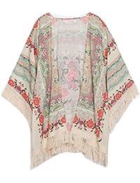 Tongshi Mujeres impreso floral de la gasa de la rebeca de la borla mantón Kimono Chaqueta Top