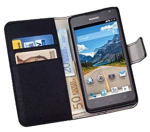 yayago Praktische Book-Style Tasche in Schwarz mit Kartenfächern für Huawei Ascend Y530