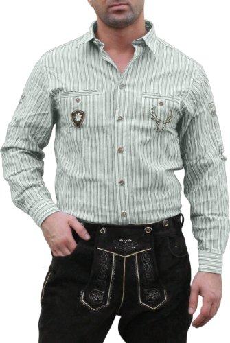 Trachtenhemd für Lederhosen mit Verzierung grün/gestreift, Hemdgröße:S