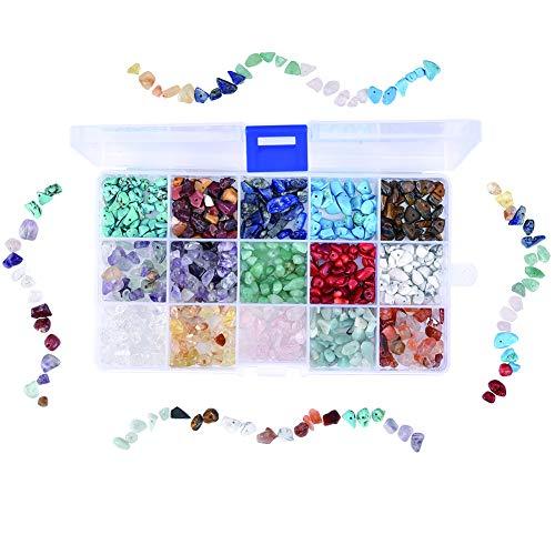 Cizen Perline di Pietre Preziose, 15 Colori Pietre Miste Irregolare, Pietre Colorate Schiacciato Pezzi di Pietra per Produzione di Gioielli Produzione Artigianale Fai da Te, 6-8mm