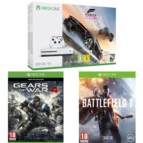 Pack Console Xbox One S 500 Go + Forza Horizon 3 + Gears of War 4 + Battlefield 1