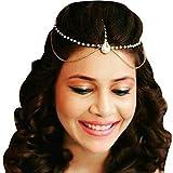 #6: Gold Plated Chain pearl Layer Kundan Stones Headchain/Mangtika For Women