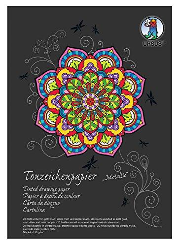 Preisvergleich Produktbild Ursus 2134698SE Tonpapier DIN A4, 130 g, 20 Blatt 3 fach sortiert, kupfer/gold/silber matt
