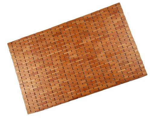 hausratplus Badvorleger Bambus Holz Badematte 88x60 honigfarben