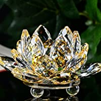 Cristal de flor de loto, mamum figura de cristal Lotus Pisapapeles adorno Feng Shui Decoración Collection, B, talla única