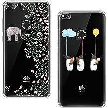 [2 Pack] Huawei P8 Lite 2017 Caso, Cubierta Blossom01 Ultra Delgada de Gel TPU Funda de Silicona con Dibujos Animados Lindo Para Huawei P8 Lite 2017 Multicolor - Elefante Flor & Pingüino