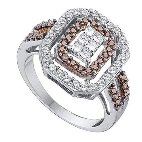 Damen Ring 0.75 Karat 14 Karat Weißgold Princess & Rund Cognac Diamant Cocktail Ring 3/4 Karat