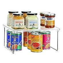 iDesign Organizer cucina, Piccolo scaffale cucina in plastica e metallo impilabile, Mensola cucina ideale per stoviglie e alimenti, trasparente e argento