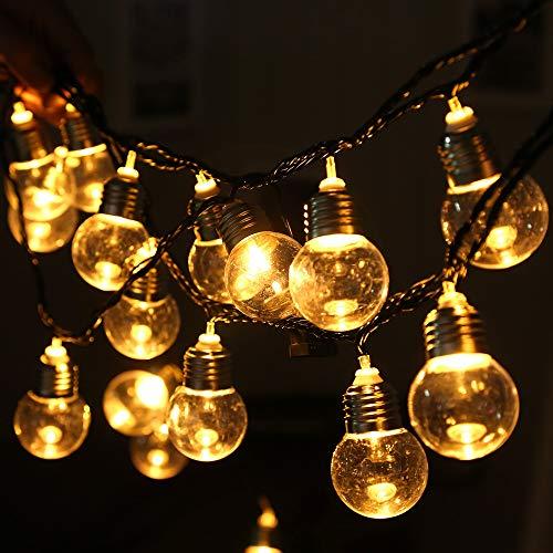 E40 Globe Lichterkette-5.8Meters Globus Schnur Licht Mit 20 Glühbirnen-Innen/Außen Hängendes Licht String Für Patio, Café Bars, Garten Hinterhof Gazebos Schlafzimmer Pergola Dekoration, Schwarz,220V