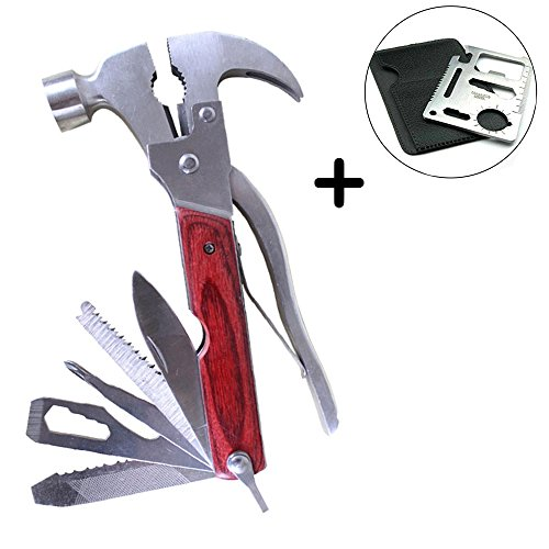 Portable Stainless Steel Multitool Multipurpose Tool Multifunctional Knife Axe with Hammer Plier Emergency Escape Hammer with Free 11 in 1 Multifunctional Credit Card Tool (Multi-cutter Head)