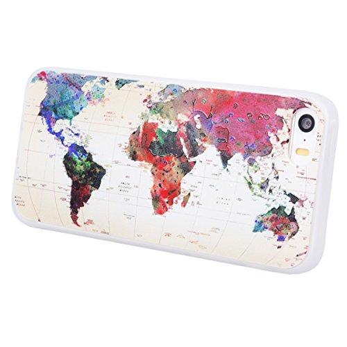 Yokata Cover per iPhone 5S / 5 / SE 3D Sollievo Disegno Custodia Gel Silicone Molle di Flessibile TPU Morbido Case Protezione Backcover Soft Caso Gomma Bumper Protettiva Shell + Penna - Elefante Mappa