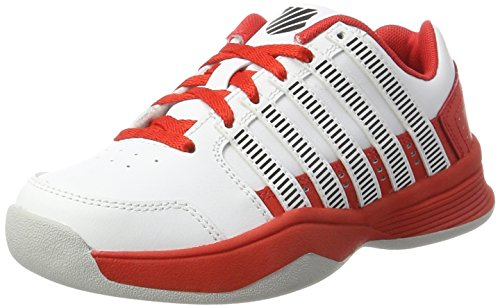 K-Swiss Performance Unisex-Kinder Court Impact LTR Carpet Tennisschuhe, Weiß (White/Fiery Red/Black), 35.5 EU (Tennis Schuhe Kinder Jungen)