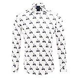 Guide London Weiße Baumwollsatin 50er Jahre Retro-Vespa und Mädchen Drucken de Mode Langarm Baumwolle Lässige Herren Hemd LS74909 2XLarge White