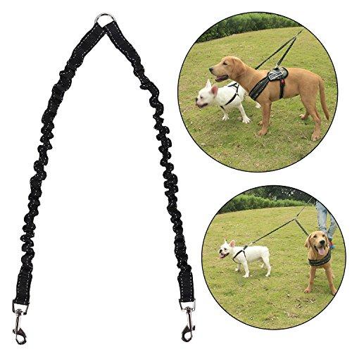 Doppelte Hundeleine, Yezelend geflochtene Hundeleine für zwei Hunde 2-Wege keine Verwicklung Doppelleine Nylon 1.35m Lang Ideal zum Wandern für kleine bis große Hunde (schwarz)