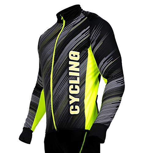 Stanteks Radtrikot Trikott Langarm Fahrradtrikot Fahrradshirt Herren Damen Unisex Fahrrad Radsport Thermo Shirt Reflektoren Schnelltrokend SR0038 (gelb, XL)