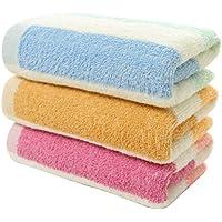 Yardwe Toalla de algodón a Rayas de Colores 3pcs Toallas de Cara Toalla de Secado rápido