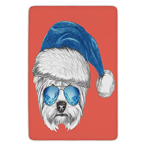 Bathroom Bath Rug Kitchen Floor Mat Carpet,Yorkie,Terrier with a Blue Santa Hat and Mirror Aviator Glasses Fun Hand Drawn Animal Decorative,Coral White Blue,Flannel Microfiber Non-Slip Soft Absorbent