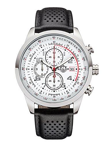 Sailor Herren Uhr Sydney Analog Quarz Chronograph weiß-rot mit Leder Armband SL201-1004