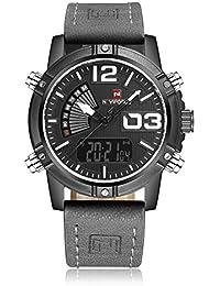 Naviforce reloj de los hombres de estilo de deporte Militar analógico Digital reloj de pulsera, correa de piel, doble zona horaria, alarma, temporizador, LCD luz (gris)