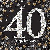 amscan 511545 16 Servietten 40.Geburtstag Sparkling Celebration, Schwarz/Silber