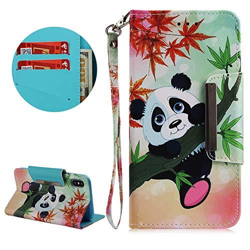 Daskan cordino portafoglio custodia per iphone xs max,elegante stampa disegno chiusura magnetica flip cover antiurto morbido pu pelle stand custodia con porta carte per iphone xs max,panda di bambù