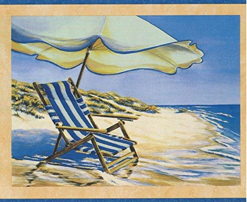 hl Liege Regenschirm auf dem Meer Segelboote nautischen Wallpaper Grenze Retro-Design, Roll-15' x 7'' ()