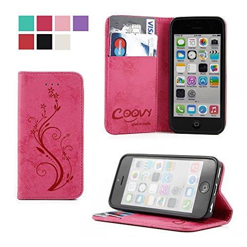 COOVY® Cover für Apple iPhone 5c Case Wallet Schutz Etui mit Kartenfach, Standfunktion + Schutzfolie - Design Blume | Farbe hotpink (5c Case Wallet)