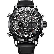VEHOME Reloj Deportivo de Lujo para Hombres - Correa de Cuero - Pantalla analógica Digital LED