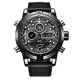 Uhren für Männer Wasserdicht Männer Edelstahl Business Armbanduhr Mann Runde Uhr Dual Movt Herren Leder Quartz Analog Digital LED Sport Armbanduhr (schwarz)
